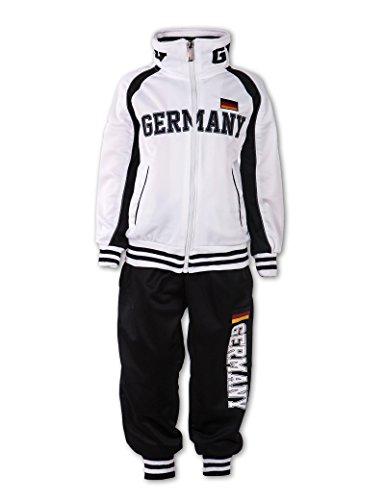 24brands Jungen Trainingsanzug Sportanzug Sporthose mit Jacke Zweiteiler Sportbekleidung Germany Deutschland - 3151, Größe:128-134;Farbe:Weiss