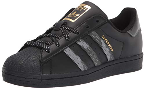 adidas Originals Men's Superstar Sneaker, Black/Black/Gold Metallic, 10.5