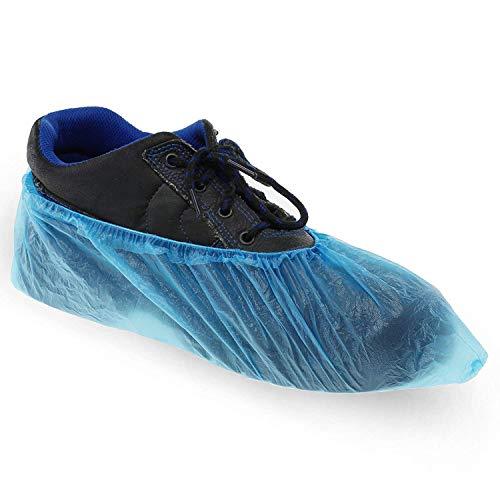 100x Copriscarpe in pellicola di polietilene blu adatto fino alla misura di scarpe 45 con elastico stabile