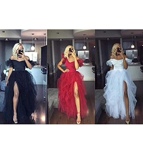 Amen - Falda larga de tul con cola de milano, para novia, boda, de tul, para mujer, larga, rojo, Talla única