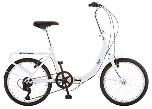 Schwinn Loop Adult Folding Bike, 20-inch Wheels, Rear Carry Rack, White