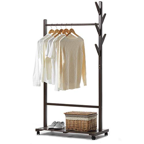 GUOCAO Clothing Rack Stand-Alone Multi-Function Hanger Clothing Stand Clothing Display Shoes for Living Room Bedroom for Bedroom Laundry Room (Color : Brown, Size : 170x43x83cm)
