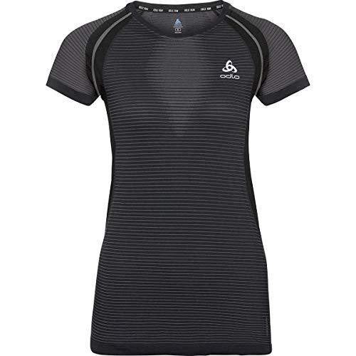 Odlo T-Shirt Ceramicool Pro BL Top Crew - pour Femme - Noir, Gris S Noir