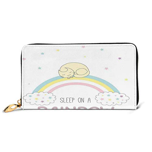 Women's Long Leather Card Holder Purse Zipper Buckle Elegant Clutch Wallet, Sleep On A Rainbow Phrase with Curled Up Cat Sleeping On A Soft Color Rainbow Stripes,Sleek and Slim Travel Purse