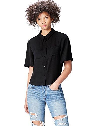 find. Hemd Damen mit kurzen Ärmeln, Brusttaschen und kastenförmiger Silhouette, Schwarz, 36 (Herstellergröße: Small)