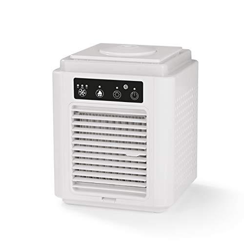 EASYmaxx Klimagerät mit Aktivkohle-Filter | Zum Kühlen, Befeuchten und Erfrischen der Raumluft | Funktioniert durch Verdunstungstechnologie | 3 Leistungsstufen und 7 LED-Farb-Varianten [weiß]