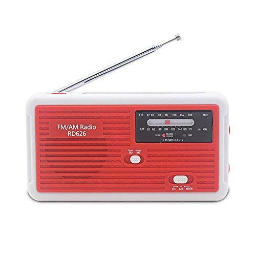 防災ラジオRD626 緊急用ポータブルラジオ FM/AM/対応 1000mAh内大容量蔵バッテリー 手回し充電/太陽光充電/乾電池対応 スマホ充電対応可能 台風地震対策 日本語説明書付き (レッド)