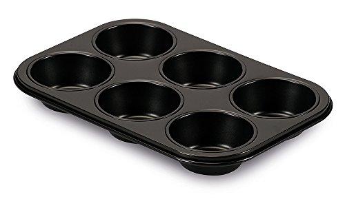 Guardini Gardenia, Plaque à 6 muffins 18,5 x 27 cm, acier avec revêtement anti-adhérent, couleur noire