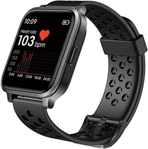 Reloj inteligente para hombre y mujer, monitor de actividad física con monitor de ritmo cardíaco, seguimiento del sueño, contador de pasos IP68, resistente al agua, podómetro, negro y negro
