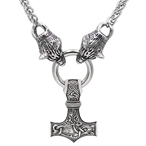 DFWY Viking Stainless Steel Wolf Head Thor's Hammer Pendant Men Necklace,Nordic Mythology Odin Fenrir Mjolnir Amulet,Middle Ages Gothic Scandinavian Accessories (Size : 60CM)