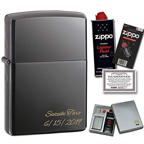 名入れ 彫刻 ZIPPO ライター 消耗品付き(オイル&替え石) ギフトセット #150 ブラックアイス 永久保証 (書体:筆記体, 加工位置:ななめ)