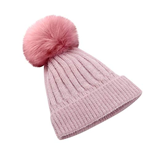 Rosennie Winter Strickmütze Bommelmütze mit Pompon Warme Grobstrick Strickmütze Damen Herbst Winter Fleece Bommel Beanie Mützen Grobstrick Fashion Ski Kappe