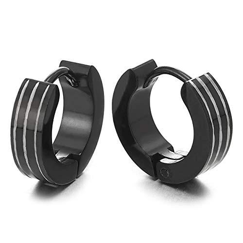 Paar Hoop Creolen für Herren Damen Jungen, Huggie Ohr Manschette Ohrringe Edelstahl mit Laser-Muster Rillen Stripes