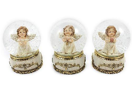 Creation Gross 3X Schneekugel -Engel- auf goldenem Sockel mit Rosen H.: 9cm Ø65mm