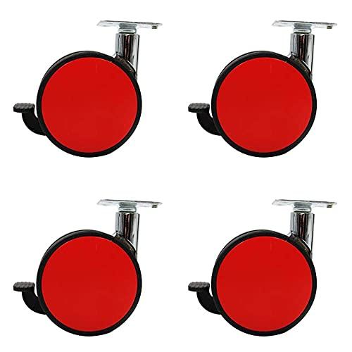 GAXQFEI Ruedas de Muebles de Rueda Doble 3In (80 Mm) 360 ° Ruedas Giratorias Ruedas Resistentes/Silenciosas, para Muebles de Carro (Rojo/Blanco) con Frenos 4 Piezas,Rojo