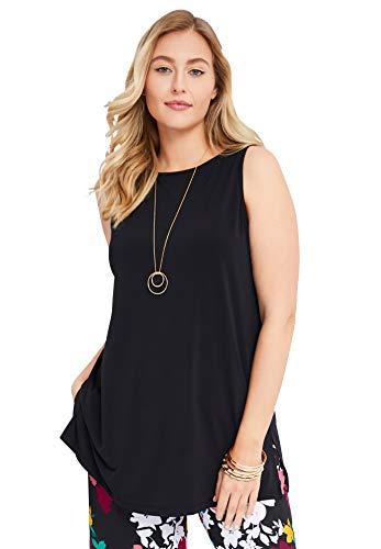 Jessica London Women's Plus Size Travel Knit Tunic Wrinkle Resistant Stretch Knit Long Shirt - 22/24, Black