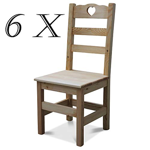 Elean 6 Set Holzstuhl Herz mit Lehne aus massiven Kiefernholz geölt zussamengebaut Neu