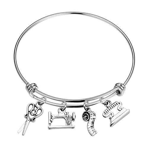 CHOROY Sewing Machine Charm Bracelet Scissors Bangle Sewing Lover Gift Seamstress Gift I Love Sewing Jewelery Gift for Costume Designer (Alloy bangle)