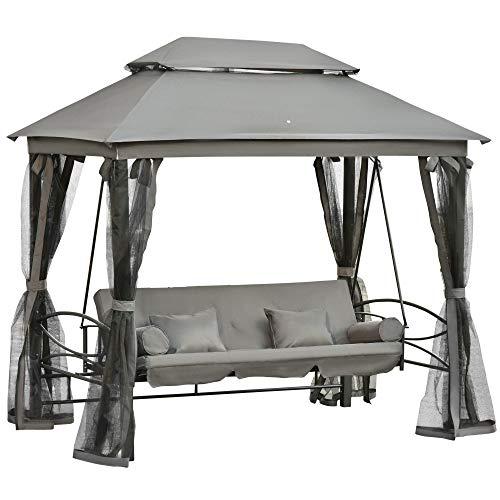 Outsunny Hollywoodschaukel Gartenschaukel Schaukel mit Seitenwänden 3-Sitzer Dunkelgrau 256 x 172 x 248 cm