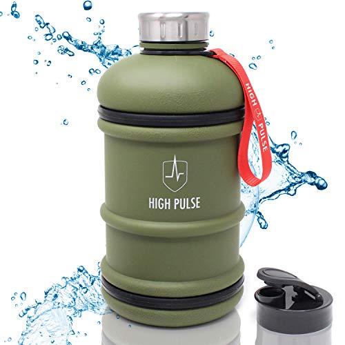 High Pulse Botella de agua para gimnasio 2,2 L – La botella deportiva con asa no se derrama y es el accesorio de gimnasio perfecto – Sin BPA