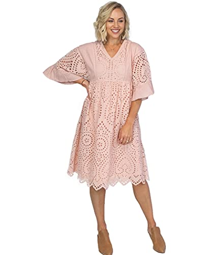 Roolee - Falling for You Eyelet Dress, Modest Lace Dress for Women, Wedding Bridesmaid Dresses (M, Blush)