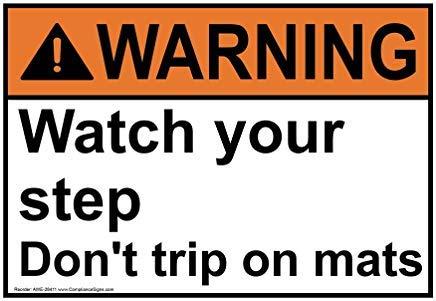Wendana Waarschuwing Let op Uw Stap Niet Trip Op Matten Teken, Grappige Tin Metalen Waarschuwingsborden voor Eigenschap, Aluminium, Poort Teken, Hek Teken Buiten, 8