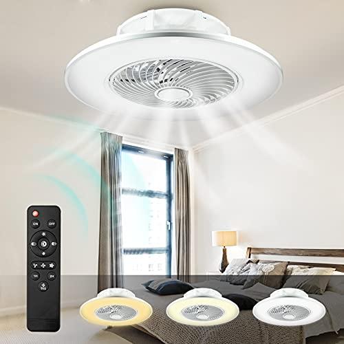 LED Ventilador De Techo Con Luz Y Mando A Distancia 48W Lámpara De Techo Ventilador Invisible Regulable Decoración De Interiores Sala De Estar Plafón De Techo Fan Lluminación 3 velocidades(Bla