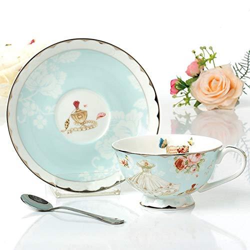 Tasse European Style Tea Cup Set Bone China Tee-Tasse und Untertasse Set Blumenmuster Keramik Kaffeetasse Porzellan-Trinkgefäße Geschenk for Mädchen Porzellancup
