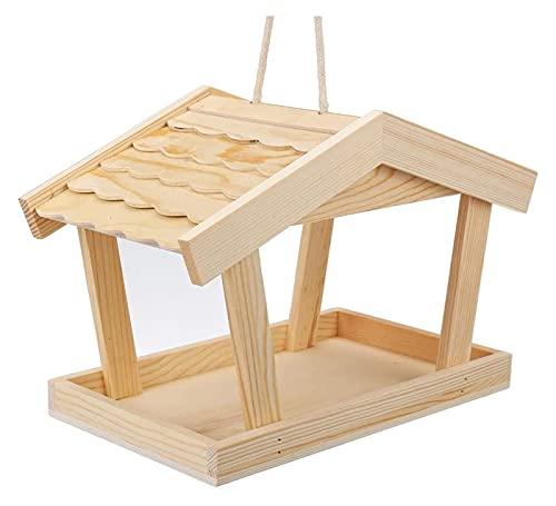 Alimentador de Aves de Madera Mesa de Aves Colgando de la estación de alimentación de pájaro jardín Aparato de alimentación de Aves Wildbird Tabla alimentador (Color : Wood, Size : 11.8x6.3x8.7in)