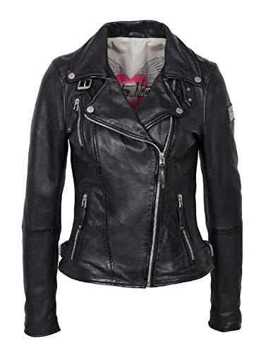 Freaky Nation Damen Lederjacke Bikerjacke Schwarz Rot Gelb Cognac Braun Echtleder Tailliert (XL, Schwarz)