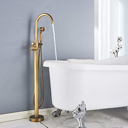 Rozin Badewannenarmatur, Bodenmontage, antikes Messing, Einhebel, freistehend, 360 Grad drehbar, mit Handbrause