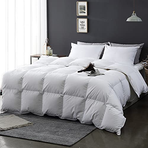 APSMILE All Seasons Goose Down Comforter Full/Queen Duvet - Organic Cotton, 46oz 650 Fill-Power Medium Warm Down Feather Comforter Insert(90x90, Ivory White)