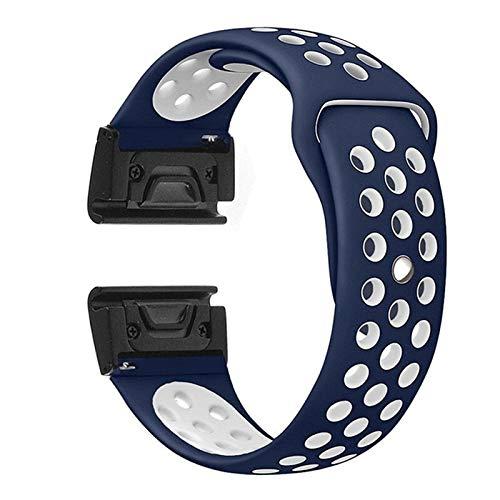 ZHONGGOZZ Silicone Watch Band Strap Strap Reemplazo Forgardmin Fenix 6 6X 6s Pro 5X 5X 5s Plus Sport Smart Watch Pulsera (Band Color : Navyblue White, Band Width : For Garmin Instinct)