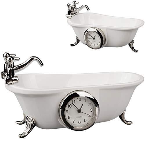 alles-meine.de GmbH kleine - Tischuhr / Miniatur - Uhr - Badewanne - aus Metall - 9,1 cm - batteriebetrieben - Analog - Batterie - weiß - Silber - Zahlen Stehuhr / Standuhr - Woh..