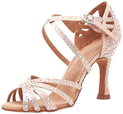 MGM-Joymod -- Sandali da ballo, da donna, aperti in punta, con cinturini incrociati e strass, ideali per feste, matrimoni, balli latini, moderni e tango, Beige (Pelle 9 centimetri Tacco), 38 EU