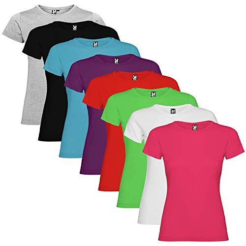 Pack de 8 Camisetas de Manga Corta para Mujer, 100% Algodón, Jamaica (S)