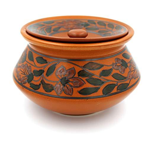 POTZO Ceramic Handi with Lid, Mughal Brown, 750 ML, Curd and...
