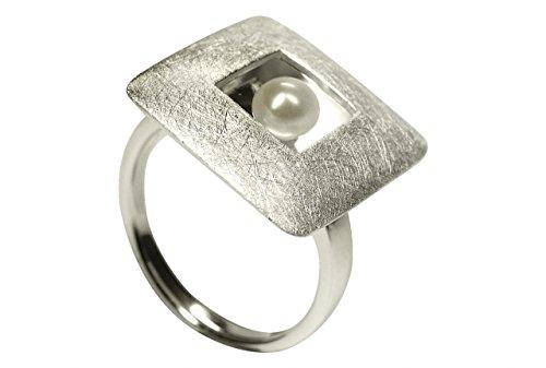 SILBERMOOS Anillo de mujer placa cuadrada abierta en el centro con una perla y cepillado Plata esterlina 925, Tamaño del anillo:20