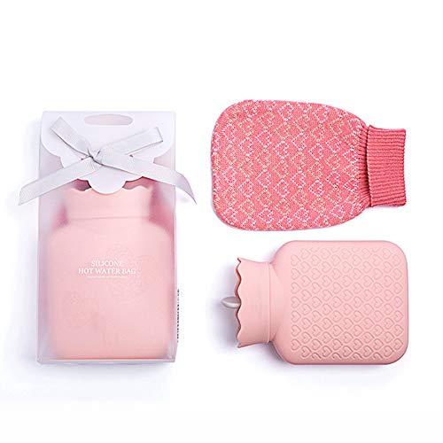 SANJIANG Mini Botella De Agua Caliente De Silicona Bolsa De Agua Caliente para Niños con Cubierta De Lana Tejida Calefacción por Microondas Botella Fría Caliente De Viaje,Pink