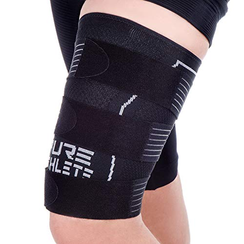 Pure Athlete Thigh Compression Sleeve – Adjustable Straps Quad Wrap Support Brace, Hamstring Upper Leg (1 Sleeve - Black, Medium)