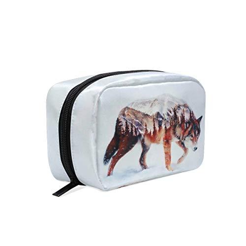 Wolf Forest Airbrush Malerei Kosmetiktasche Reise Make-up Fällen Baum Tier Schnee Tragbare Tasche Organizer Große Kapazität Kulturtasche Aufbewahrungsbox für Mädchen und Frauen Outdoor
