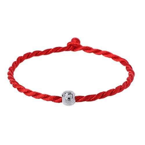 Pulsera de cuerda roja de la suerte para mujeres y hombres de la suerte cuerda ajustable trenzada pulsera mamá hija pareja regalo (rojo)