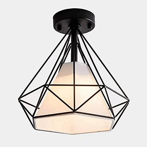 ZLMFK Luz de Techo de Hierro Estilo Retro Industrial Pasillo Balcón Lámpara de Techo en Forma de Diamante Iluminación Montaje Semi Empotrado