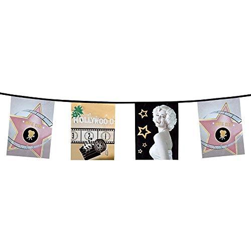 Boland 44200 - Wimpelketting Hollywood, lengte 6 m, vierkante vlaggen, hangdecoratie, slinger, verjaardag, feestdecoratie, feestservies, motto party, carnaval