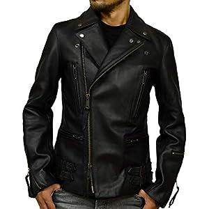 レザージャケット ダブルライダース メンズ 本革 ライダースジャケット バイク ブラック 黒 uk1bk