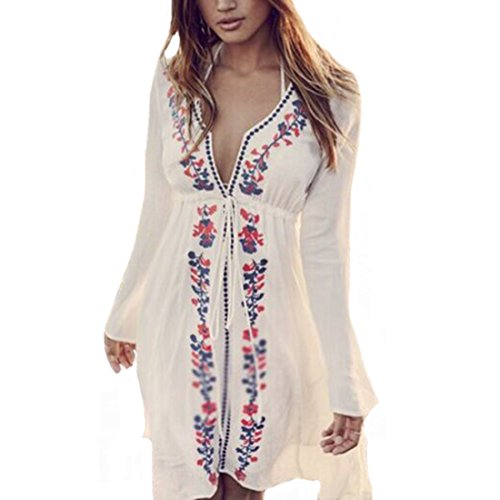 SHFZ Women's Floral Print Wrapped Beach Bathing Suit Cover up Dress