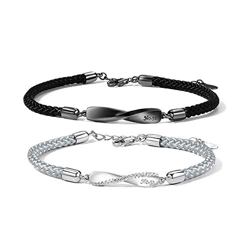 UPANV S925 Sterling Silver Bracelets for Lovers Couple Bracelet, Hand-Woven Wristband, Length Adjustable Jewelry, 1 Pair