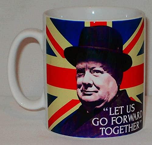 Winston Churchill Go Forward Together - Taza de cerámica, diseño de texto 'Go Forward Together'