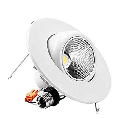 10W Dimmable High CRI90+ 5/6-Inch Gimbal Recessed LED Retrofit Adjustable Downlight Fixture, 3000K Warm light/5000K Daylight,1 Pack/4 Pack