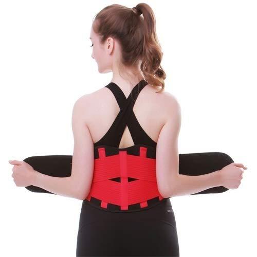 Cinturón deportivo para mujer, correa de adelgazamiento, para correr, gimnasio, faja deportiva para mujer, corsé transpirable, color rojo rosa, talla L: